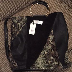 Top shop black suede and leather print bag